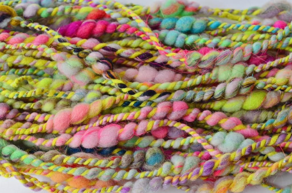 Elysa Darling | 222 Handspun coils handspun art yarn - Strauch Mad Batt'r Drum Carder - Strauch Fiber