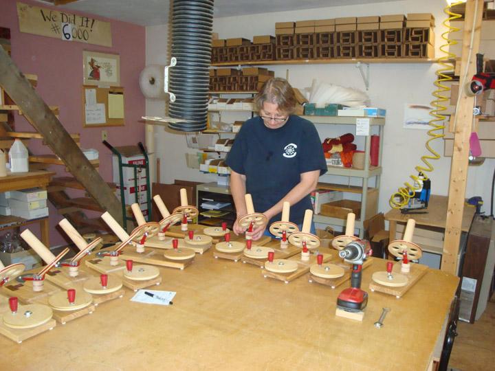Liz making lots of ball winders