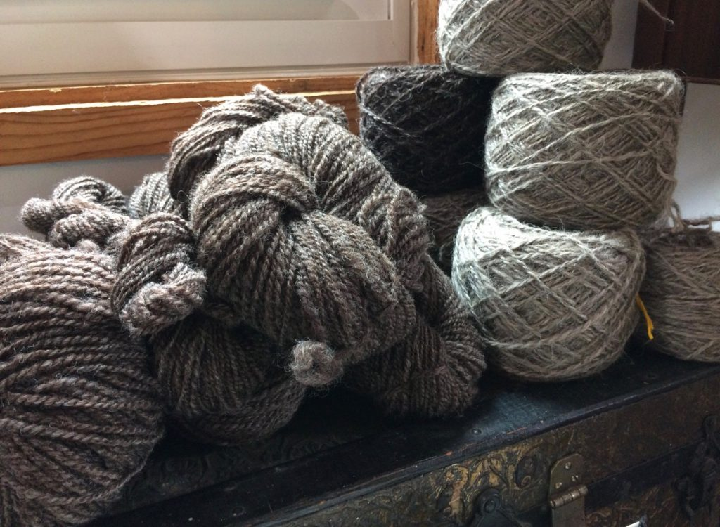 skeins are from a Romney fleece. Don't remember what the balls are, but the light grey is very soft. All were carded on a Strauch, and the balls wound on a Jumbo Ball Winder