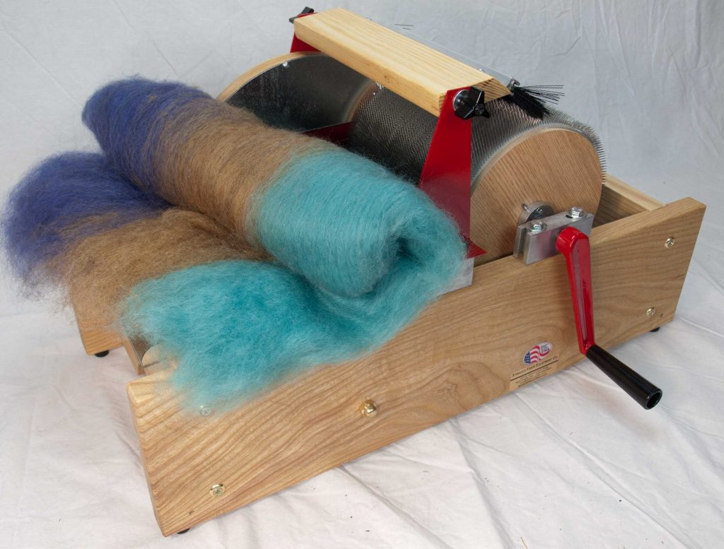 Finished Batt on a Strauch Petite Drum Carder.