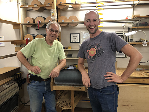 Otto and Mike after making the last Strauch drum carder in Virginia