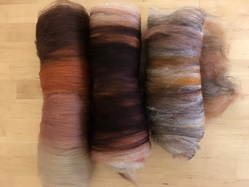 From L-R: Striped, Layered and Heathered Pumpkin Spice Batts