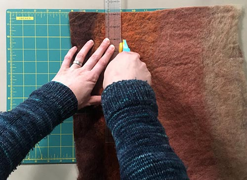 How to Wet Felt Coasters from Carded Batts - cutting felted batt into pieces